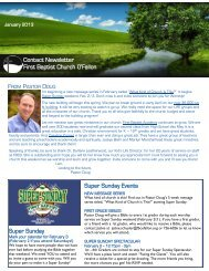 Contact Newsletter First Baptist Church O'Fallon ... - Adult Ministry