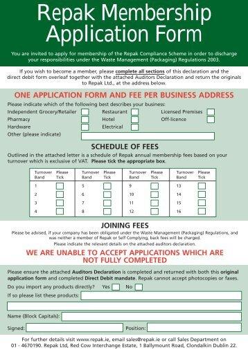 Membership Form - Repak