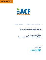 Enquête Nutritionnelle Anthropométrique Zone de Santé de ...