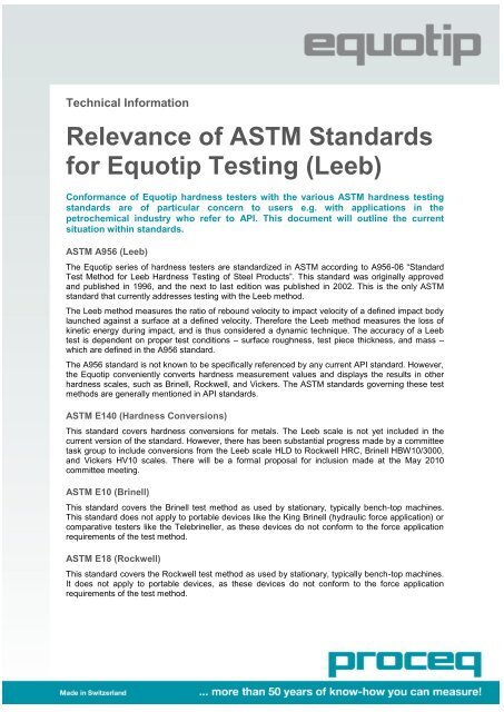 Relevance of ASTM Standards for Equotip Testing (Leeb) - Proceq