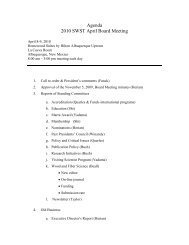 Agenda 2010 SWST April Board Meeting