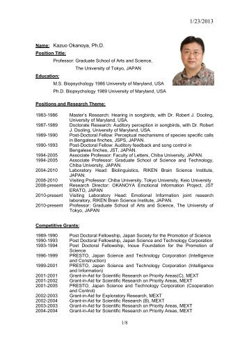 curriculum vitae riken brain science institute