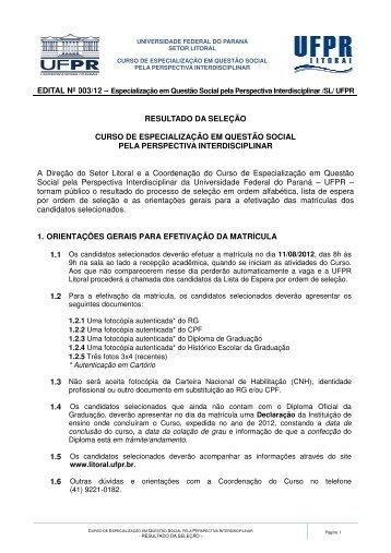 confira a lista dos selecionados - UFPR Litoral - Universidade ...