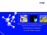 Wertschöpfung im Anlagenbau Dr. Armin Günther, Lurgi AG