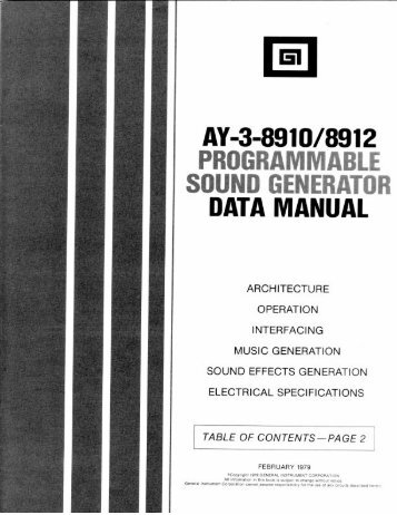 AY-3-8910/8912 Programmable Sound Generator Data Manual