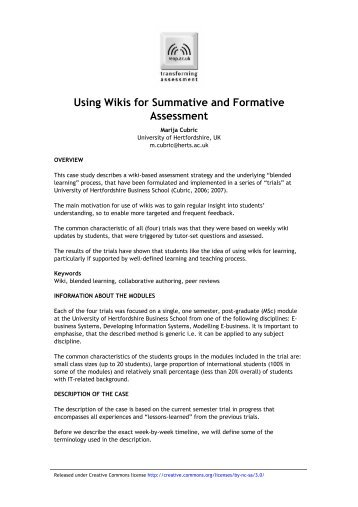 Using wikis for summative and formative assessment - University of ...