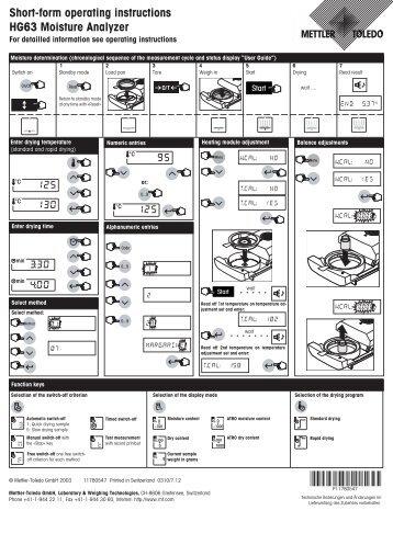 Short-form operating instructions HG63 Moisture ... - Mettler Toledo