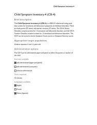 Child Symptom Inventory-4 (CSI-4) - CAMH Knowledge Exchange