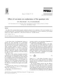 Effect of curvature on conductance of the quantum wire - B.Verkin ...