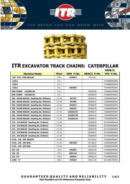 ITR EXCAVATOR TRACK CHAINS: CATERPILLAR - VR Trading