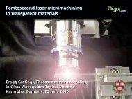 Femtosecond laser micromachining in transparent materials