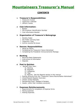 Manual Table of Contents - Mountaineers