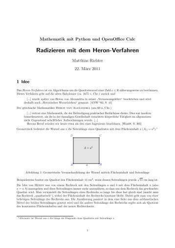 Arbeitsblatt zum Heron-Verfahren