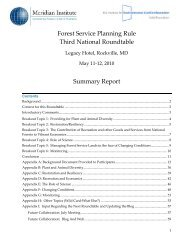 Forest Service Planning Rule Third National Roundtable ... - IDRS, Inc.