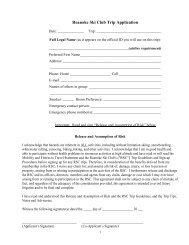 Roanoke Ski Club Trip Application