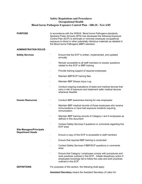 Bloodborne Pathogen exposure/incident packet - Spokane Public ...
