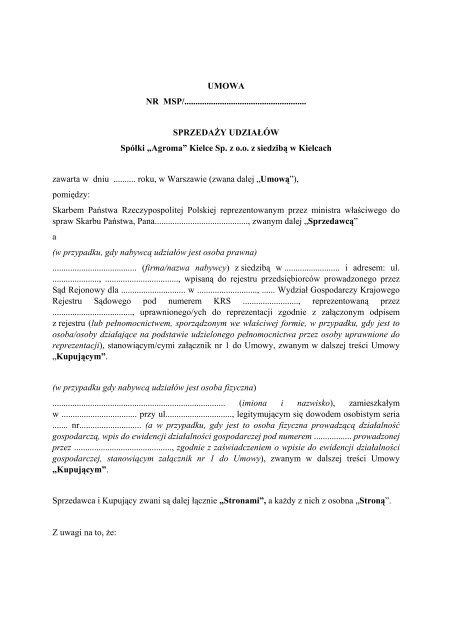 umowa sprzedaży - Agroma Kielce Sp. z o.o. z siedzibą w Kielcach