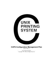 CUPS Configuration Management Plan - Open Source