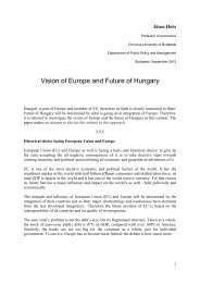 Vision of Europe and Future of Hungary