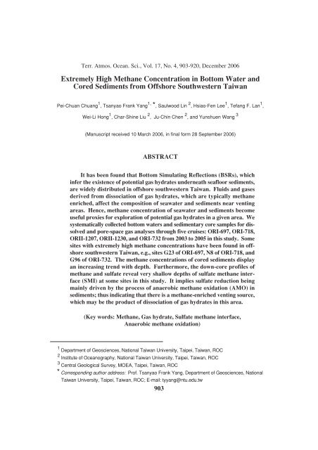Extremely High Methane Concentration in Bottom Water and Cored ...