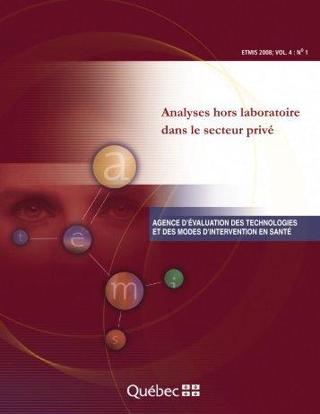 Analyses hors laboratoire dans le secteur privé - INESSS