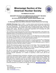 Mississippi Section of the American Nuclear Society - Local Sections ...