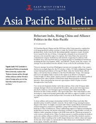 Reluctant India, Rising China and Alliance ... - East-West Center