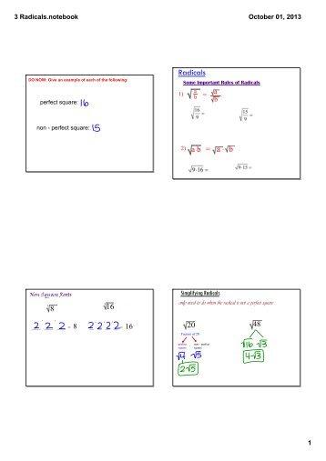 Simplifying Radicals Notes