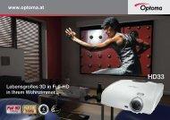 Lebensgroßes 3D in Full-HD in Ihrem Wohnzimmer... www.optoma.at