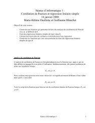 Séance d'informatique 1 : Corrélation de Pearson et régression ...