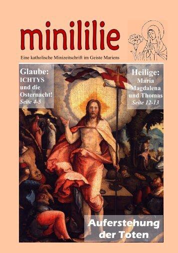 Ministrantenzeitschrift Minililie Nr. 30: Auferstehung der Toten