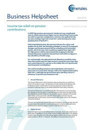 Income tax relief on pension contributions - Menzies