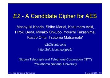 E2 - A Candidate Cipher for AES
