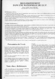 DECLOISONNEMENT DANS UNE MATERNELLE DE Z.U.P. - Icem