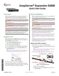 SnapServer Expansion E2000 Quick Start Guide - Overland Storage