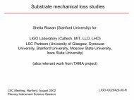 Substrate mechanical loss studies - LIGO - Caltech
