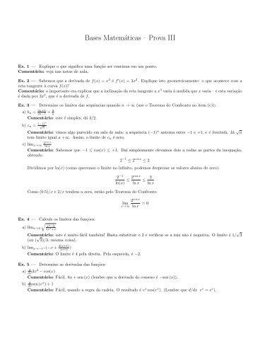 Bases Matemáticas – Prova III