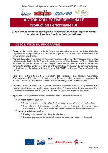 ACTION COLLECTIVE REGIONALE Production Performante ... - Cetim