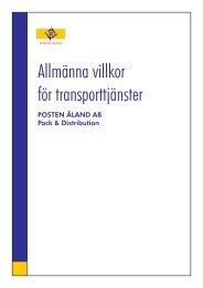 Allmänna leveranvillkor för transporttjänster - Posten Åland