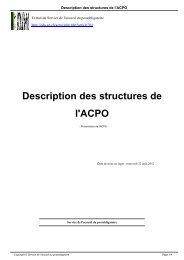 Description des structures de l'ACPO