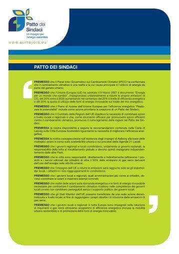 Patto dei sindaci: gli impegni - Energia