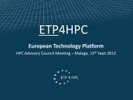 The European Technology Platform in the area of High-Performance ...
