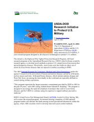 USDA-DoD Research Initiative to Protect US Military - Armed Forces ...