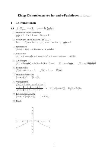 Einige Diskussionen von ln- und e-Funktionen von Peter Nemec 1 ...