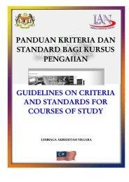 garis panduan kriteria & standard bagi kursus pengajian - Jabatan ...