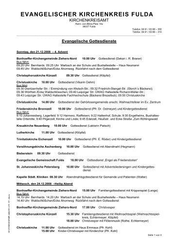 EVANGELISCHER KIRCHENKREIS FULDA - Kirchenkreisamt Fulda