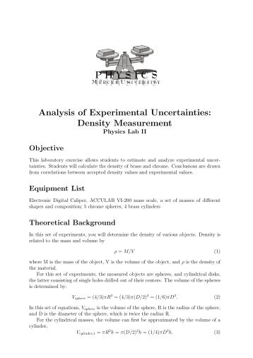 Analysis of Experimental Uncertainties: Density Measurement