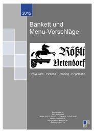 Bankett und Menu-Vorschläge