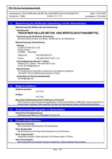 EG-Sicherheitsdatenblatt TROCK'NER KELLER BETON ... - Lugato
