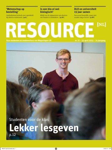 RESOURCE — 25 april 2013 - Wageningen UR